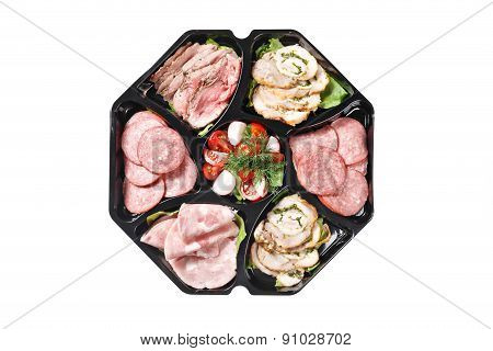 Top View Of Buffet Box Catering With Salami Meat Ham