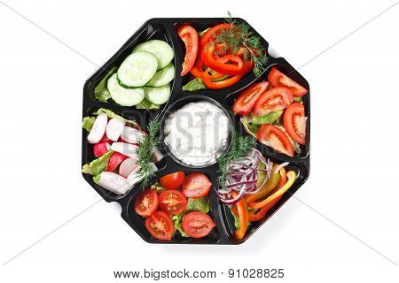 Top View Of Buffet Box Catering With Vegetables