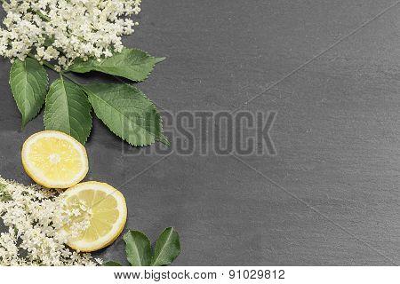 Summer Menu With Fresh Elderflowers And Lemons