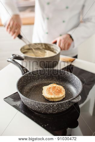 chef making pancake