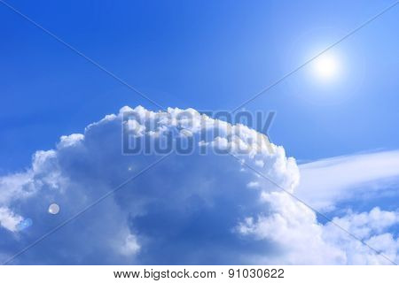 Sky View Above The Clouds With Lens Flare