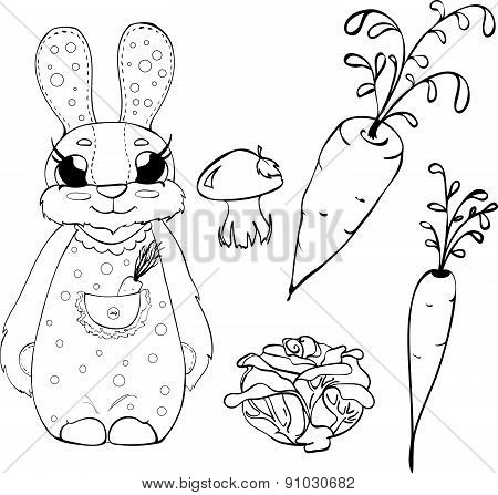 Set of vegetables and bunny in cartoon style