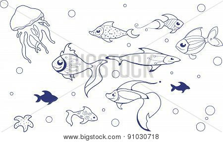Seamless pattern with fishes in cartoon style