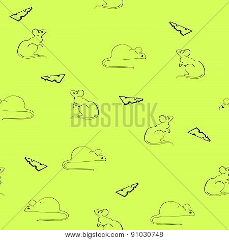 Seamless pattern with silhouette of mice and cheese