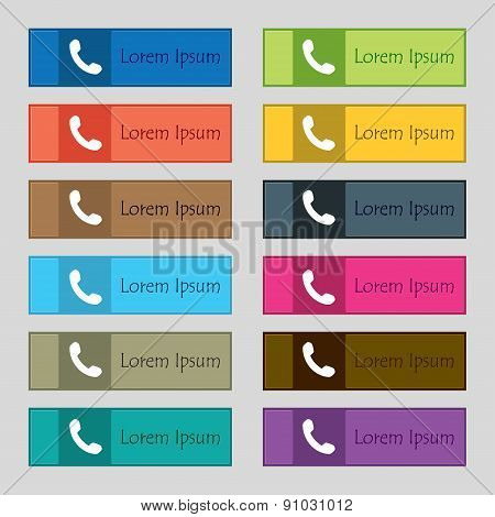 Phone, Support, Call Center Icon Sign. Set Of Twelve Rectangular, Colorful Buttons