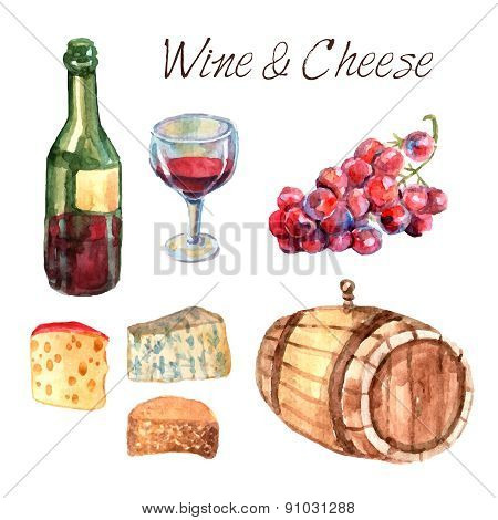 Wine and cheese watercolor pictograms set