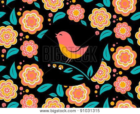 Flower invitation card  with bird singing and  seamless pattern in background