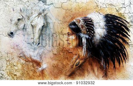 Illustration Glamour Fashion Woman Portrait With White Horses, Make Up Artist, Profile Portrait,  Cr