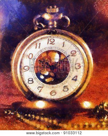 Vintage Antique Pocket Watch. Illustration Collage. Vintage Background.
