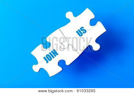 Connected Puzzle Pieces With Text Join Us