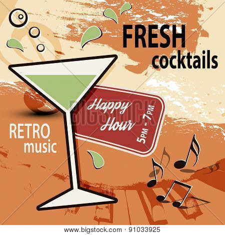 Retro cocktail bar poster ad - Happy Hour