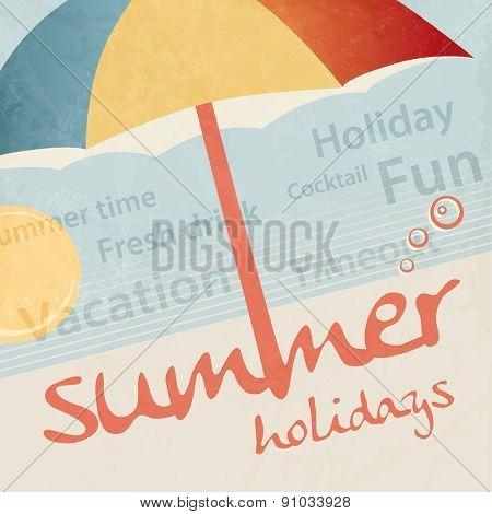 Summer holidays - tourism travel concept - retro vacation background