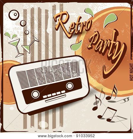 Retro party background with old radio - 50s 70s style
