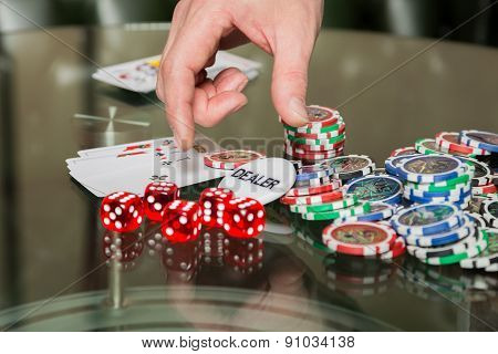 Poker cards and chips on the table. Card game, poker game.