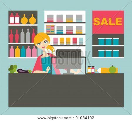 Atractive Cashier Woman.