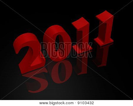 New Year 2011 in red - a 3d image