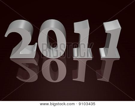New Year 2011 in silver - a 3d image