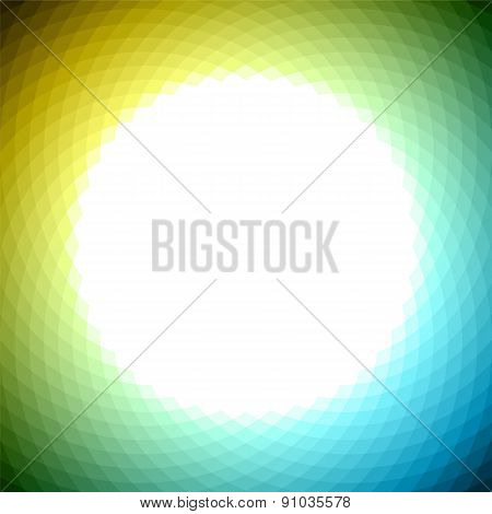 Green Yellow Blue Geometric Background With White Center