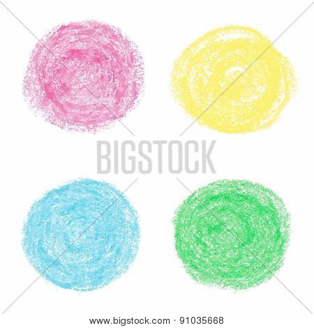 Oil pastel round design elements.