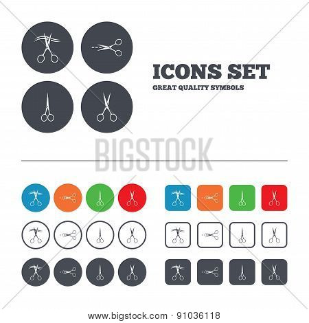 Scissors icons. Hairdresser or barbershop symbol