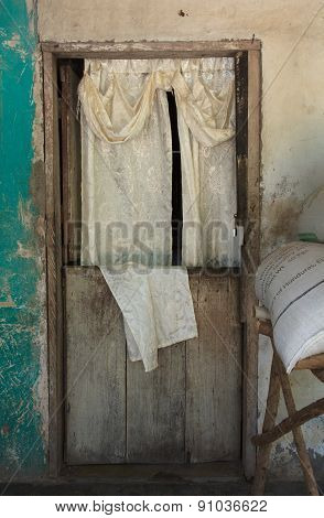 Front Door With Curtain In Rural Honduras