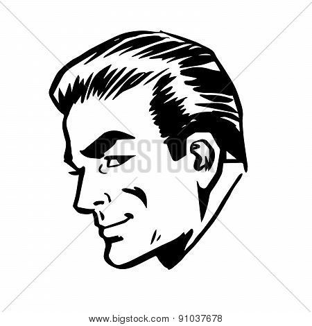 Smiling Man Head Profile Face Retro Line Art