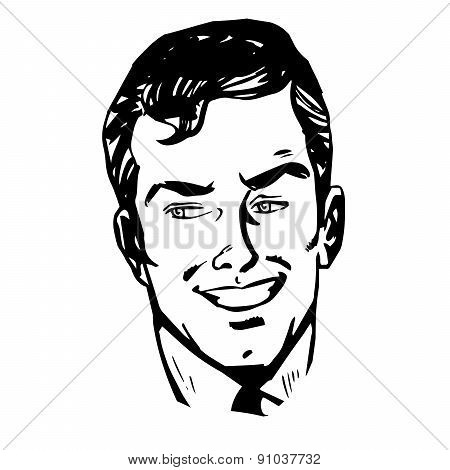 Smiling Man Face Retro Line Art