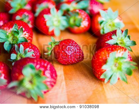 Strawberries On A Wooden Board