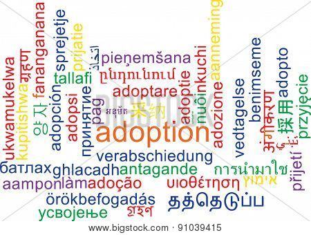 Background concept wordcloud multilanguage international many language illustration of adoption