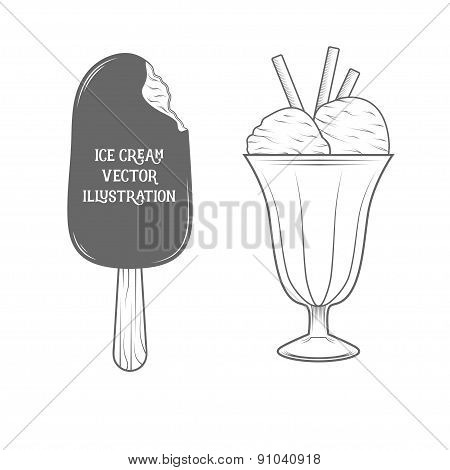 Ice cream illustration. Vintage draw style.