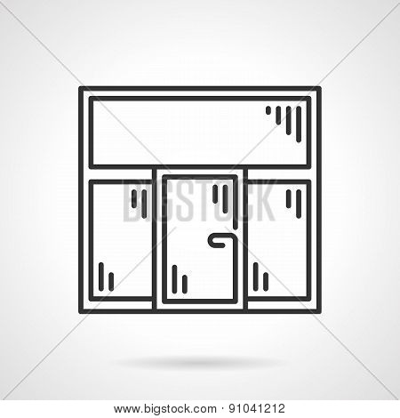 Plastic window black line vector icon