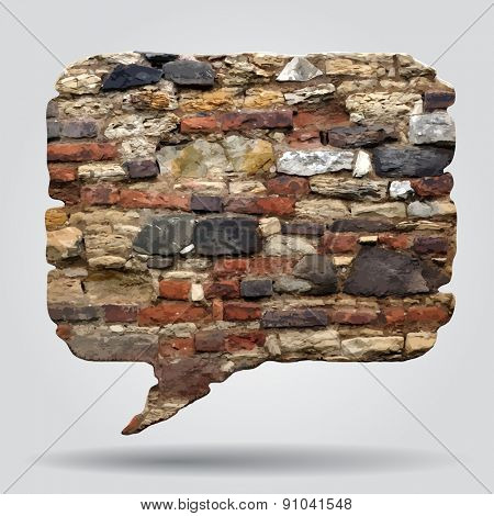 Old stone wall speak bubble. Contain the Clipping Path