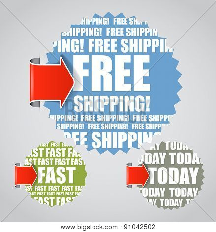 Labels with accent arrows: Free shipping, today, fast. Raster version