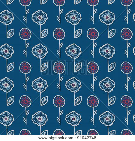 Bright seamless floral pattern with hand drawn flowers