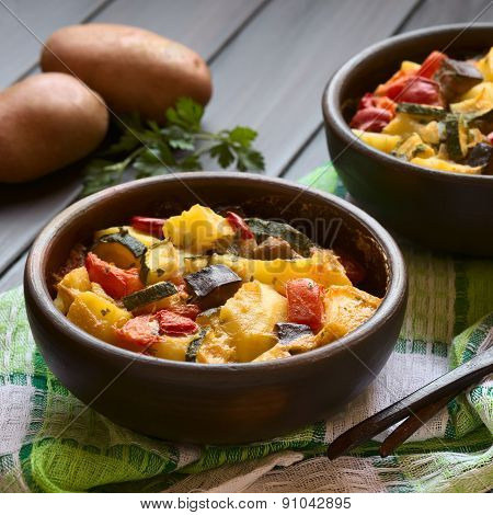 Baked Potato, Eggplant, Zucchini, Tomato Casserole
