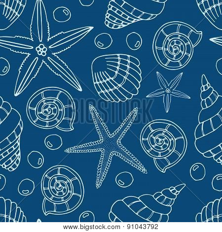 Abstract seamless pattern with hand drawn seashells, pearls and starfish