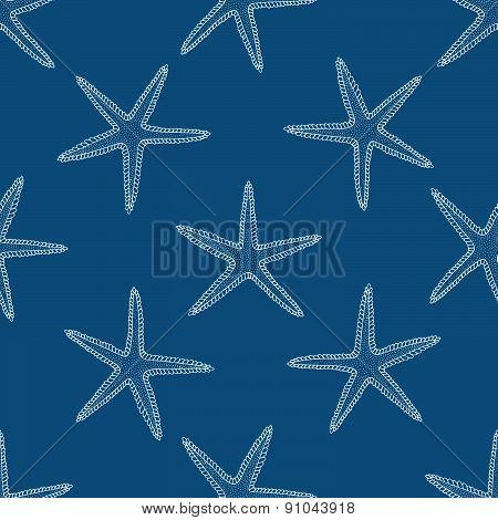 Abstract seamless pattern with hand drawn seashells