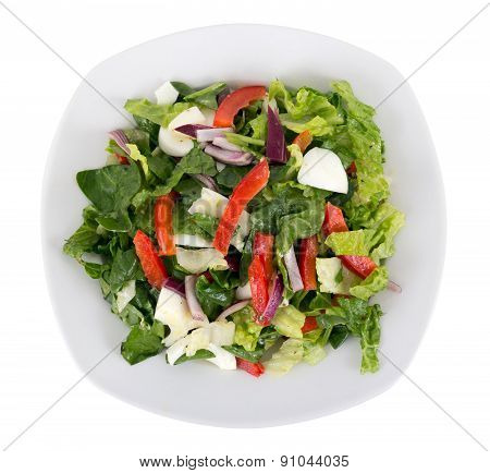 egg and vegetables salad plate over white background
