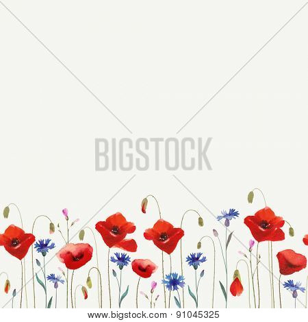 Floral glade with red poppies. Seamless ornament.