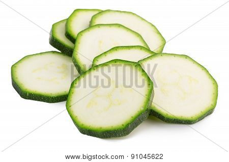 slices of green zucchini