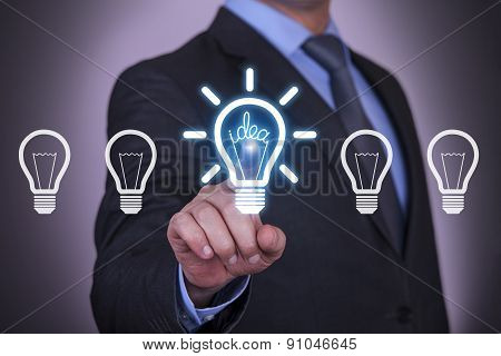Person pushing hologram of idea