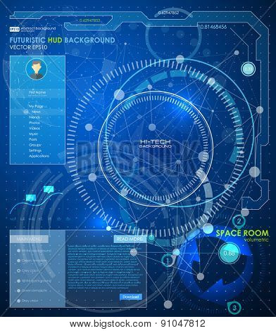 Abstract polygonal space low poly background with connecting dots and lines. Connection structure. Vector science background. Polygonal vector background. Futuristic HUD background.