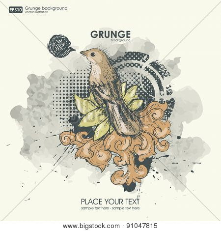 Color grunge bird for print t-shirt. Hipster style modern view on background. vector design