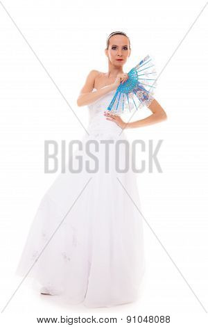 Full Length Bride In Wedding Gown Holds Fan Isolated