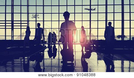 Back Lit Business People Traveling Airport Passenger Concept