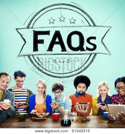 Faq Frequently Asked Questions Guidance Explanation Concept