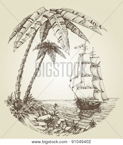 Sailing boat on sea and tropical island destination
