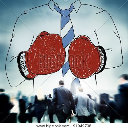 Businessman Boxing Conpetition Fighting Sport Agressive Concept