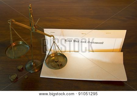 Last Will And Testament With Legal Scales