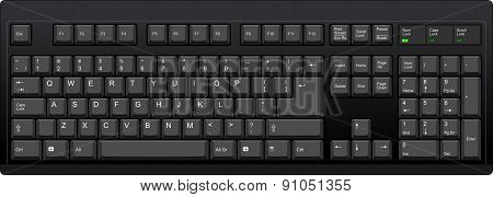 Us English Qwerty Computer Keyboard. Black